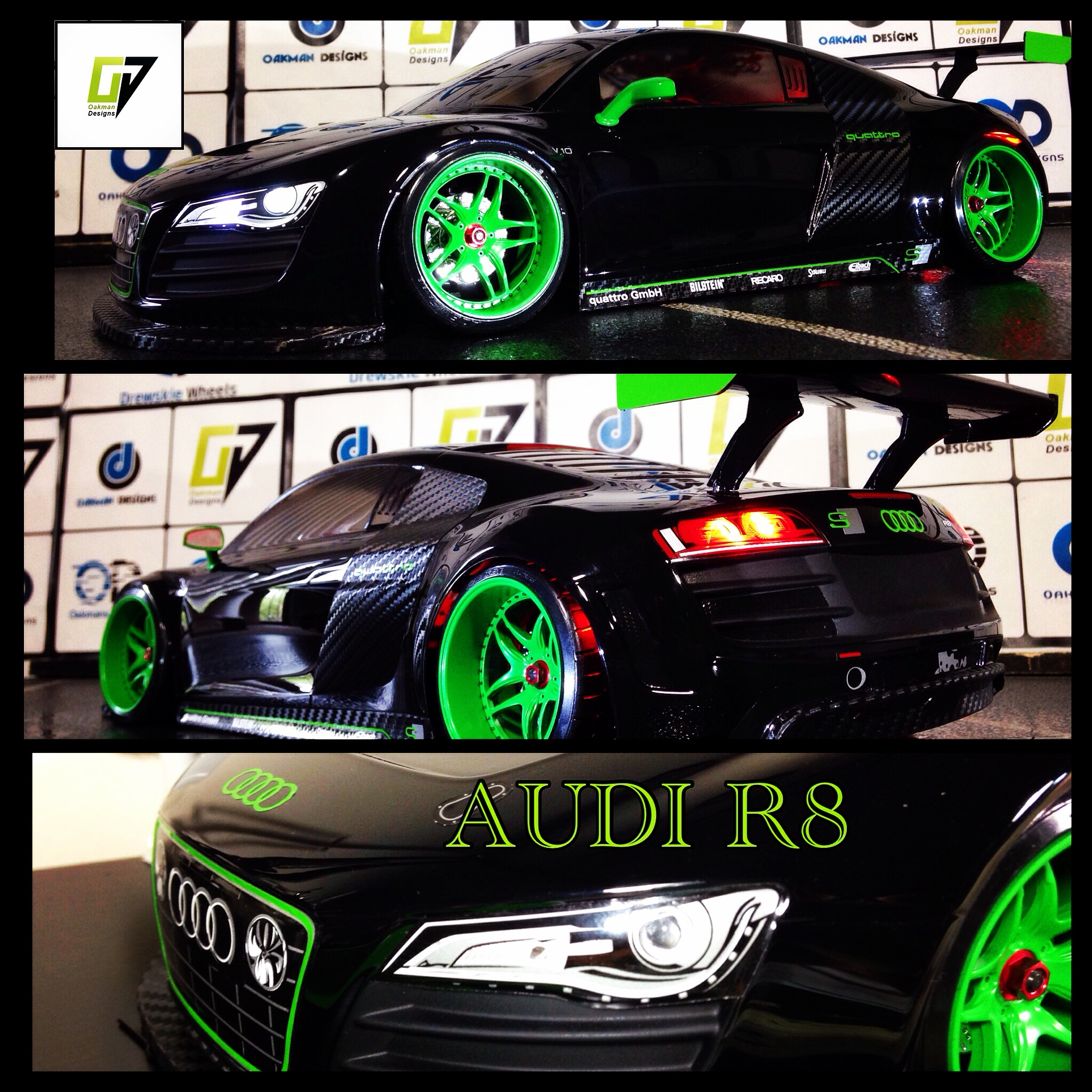 Tamiya 190Mmm Audi R8 Custom Body / RTR R/C Car